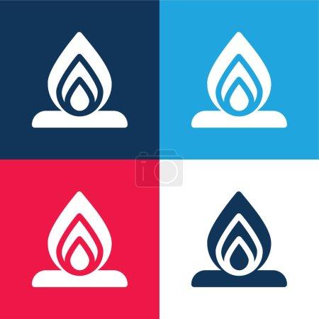 Illustration pour Bonfire bleu et rouge quatre couleurs minimum jeu d'icônes - image libre de droit