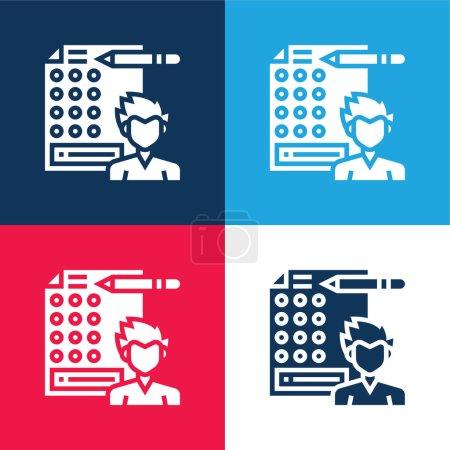 Illustration pour Réponse bleu et rouge ensemble d'icônes minimes quatre couleurs - image libre de droit