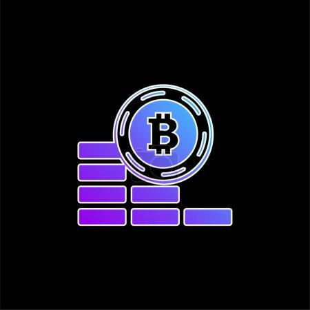Bitcoin moneta idzie w dół niebieski gradient wektor ikona