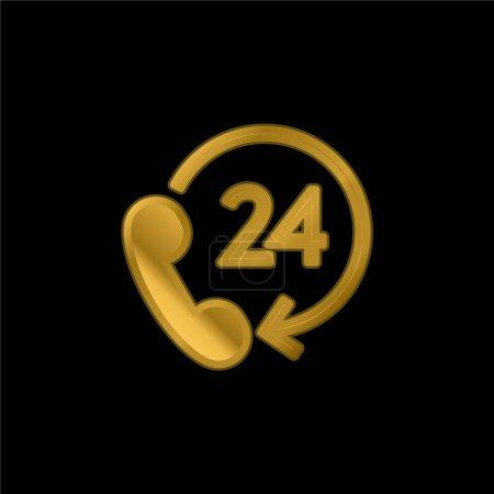 Illustration pour Support 24 heures plaqué or icône métallique ou logo vecteur - image libre de droit