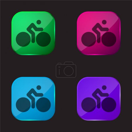 Illustration for Bicycle With Big Wheels And Cyclist four color glass button icon - Royalty Free Image
