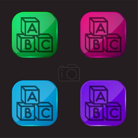 Baby Abc Cubes icône bouton en verre quatre couleurs