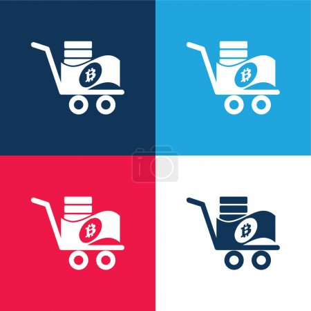 Bitcoin Trolley blue and red four color minimal icon set