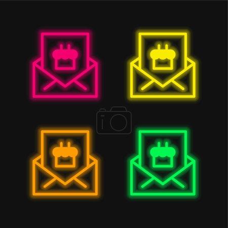 Illustration pour Invitation d'anniversaire quatre couleurs rougeoyantes icône vectorielle néon - image libre de droit