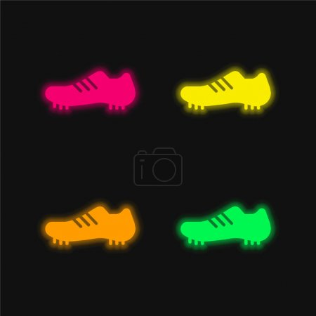 Boot four color glowing neon vector icon