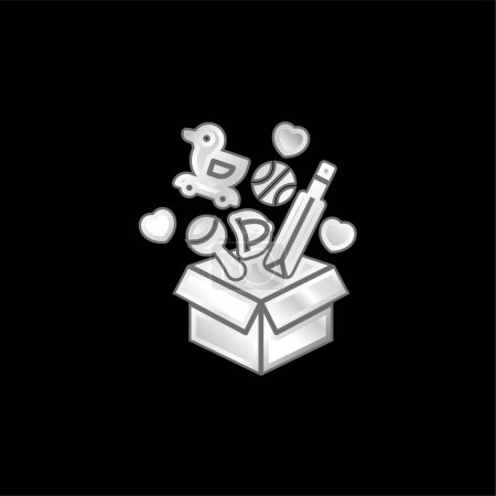 Box silver plated metallic icon