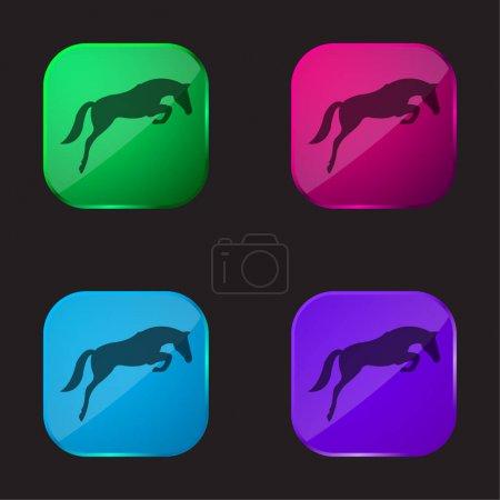 Czarny skoki koń z twarzą patrząc na ziemię cztery kolor szklany przycisk ikona