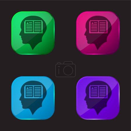 Illustration pour Tête d'homme chauve avec livre ouvert à l'intérieur icône de bouton en verre de quatre couleurs - image libre de droit