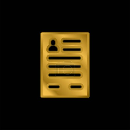 Application Form gold plated metalic icon or logo vector