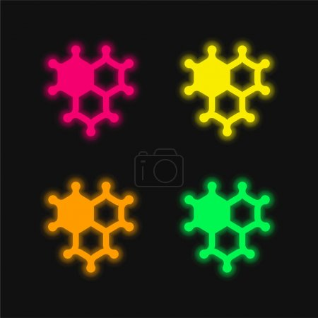 Photo for Bacteria four color glowing neon vector icon - Royalty Free Image