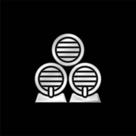 Illustration pour Icône métallique plaqué argent baril - image libre de droit