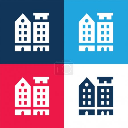 Illustration for Amsterdam blue and red four color minimal icon set - Royalty Free Image