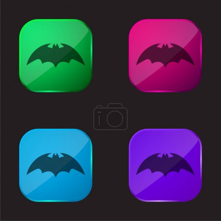 Illustration pour Chauve-souris avec des ailes arrondies Variante icône bouton en verre quatre couleurs - image libre de droit