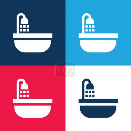 Illustration for Bathtub blue and red four color minimal icon set - Royalty Free Image