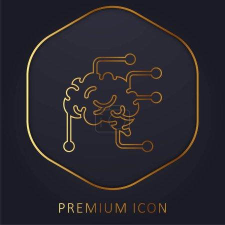 Illustration pour Cerveau ligne d'or logo premium ou icône - image libre de droit