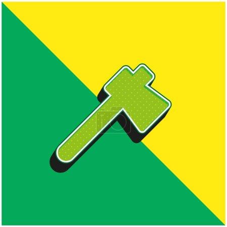 Illustration pour Hache Logo moderne vectoriel 3D vert et jaune - image libre de droit