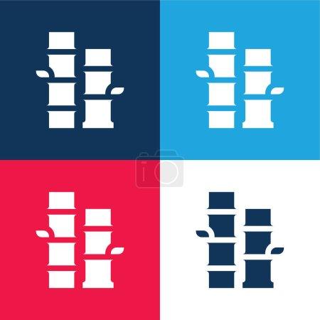Photo pour Ensemble d'icônes minime en bambou bleu et rouge quatre couleurs - image libre de droit