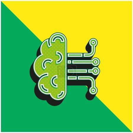 Photo pour Intelligence artificielle Logo vectoriel 3D moderne vert et jaune - image libre de droit