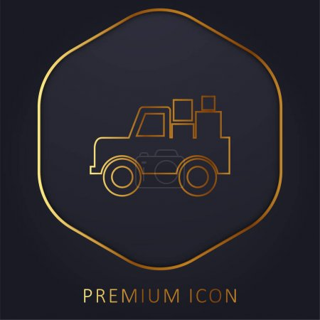 Illustration for All Terrain Vehicle With Cargo golden line premium logo or icon - Royalty Free Image
