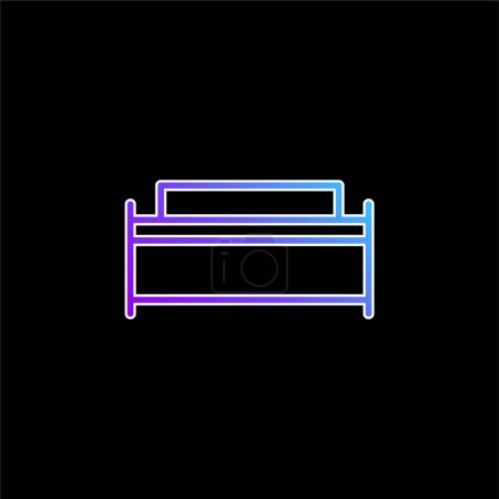Illustration for Big Bed blue gradient vector icon - Royalty Free Image