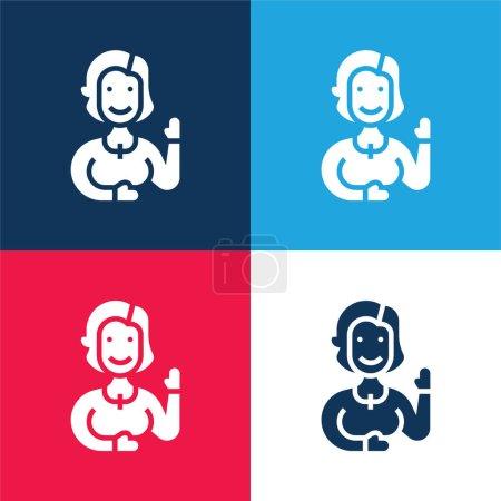 Illustration pour Tante bleu et rouge quatre couleurs minimum icône ensemble - image libre de droit