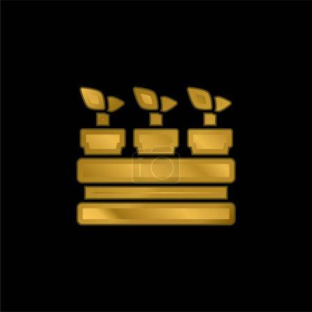 Photo pour Icône métallique plaqué or botanique ou vecteur de logo - image libre de droit