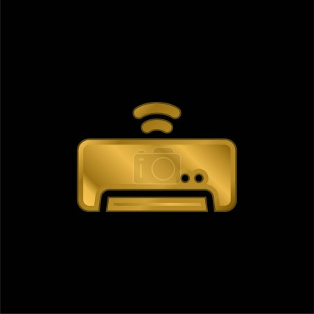 Illustration for Air Conditioner gold plated metalic icon or logo vector - Royalty Free Image