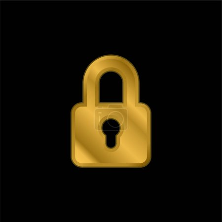 Illustration for Big Lock gold plated metalic icon or logo vector - Royalty Free Image
