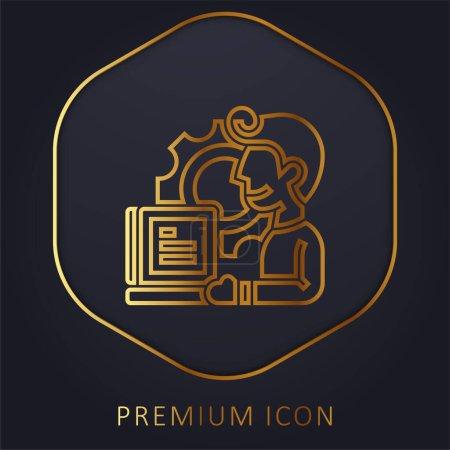 Illustration pour Application ligne d'or logo premium ou icône - image libre de droit