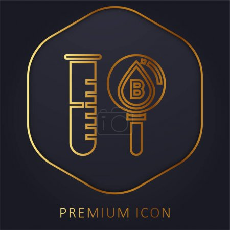 Illustration for Blood Test golden line premium logo or icon - Royalty Free Image