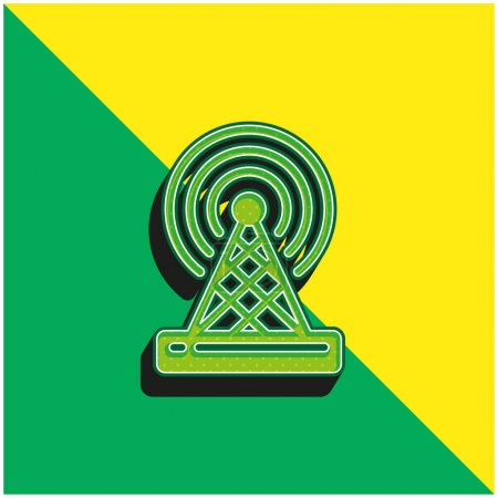 Antenna Green and yellow modern 3d vector icon logo