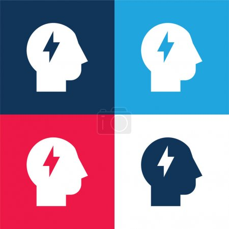 Brainstorm blue and red four color minimal icon set