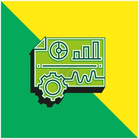 Illustration pour Analyse Logo vectoriel 3D moderne vert et jaune - image libre de droit