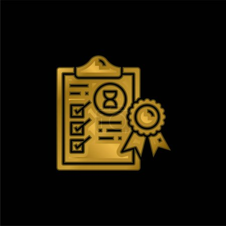Assurance gold plated metalic icon or logo vector