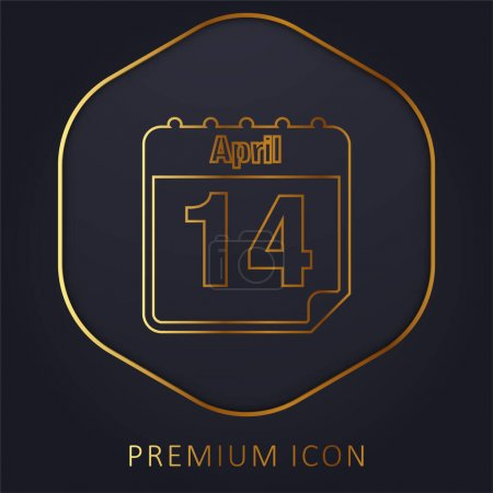 Illustration for April 14 Calendar Page Day golden line premium logo or icon - Royalty Free Image