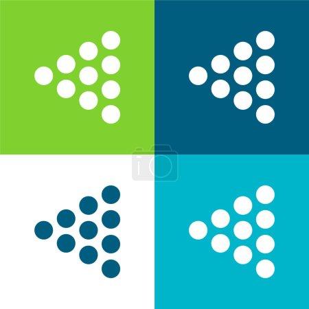 Bowling Pins Ensemble d'icônes minimal plat de quatre couleurs