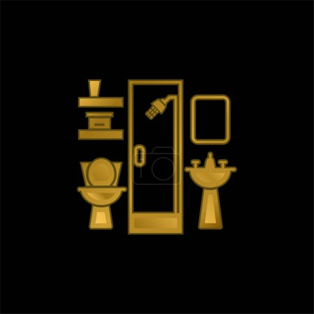 Bathroom Furniture gold plated metalic icon or logo vector