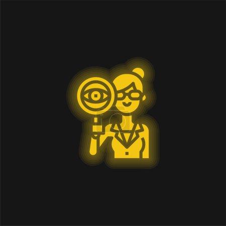 Illustration pour Auditeur jaune brillant icône néon - image libre de droit