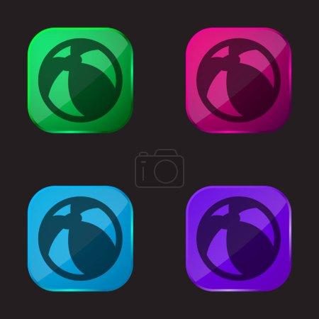 Plaża piłka cztery kolor szklany przycisk ikona