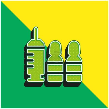Illustration pour Botox Logo vectoriel 3D moderne vert et jaune - image libre de droit