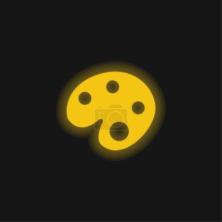 Illustration pour Artiste Peinture Palette jaune brillant icône néon - image libre de droit