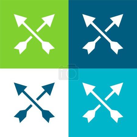 Arrows Flat four color minimal icon set