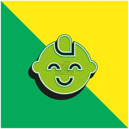 Illustration pour Bébé Garçon Vert et jaune icône vectorielle 3d moderne logo - image libre de droit