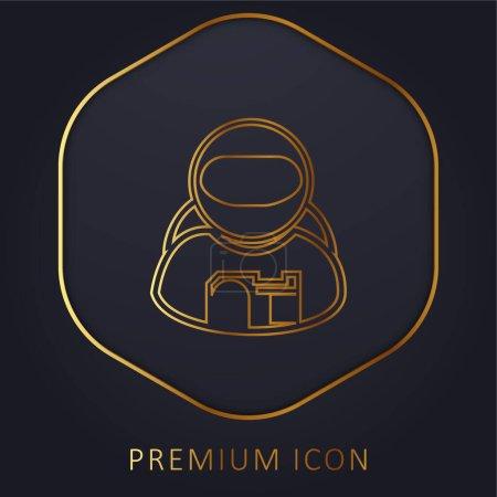 Illustration pour Astronaute ligne d'or logo premium ou icône - image libre de droit