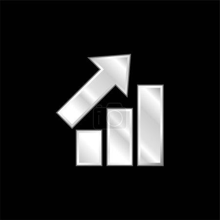 Illustration pour Barres Graphiques avec flèche ascendante argent plaqué icône métallique - image libre de droit