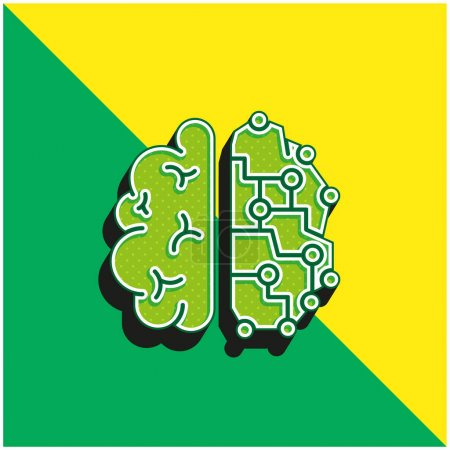 Photo for Brain Green and yellow modern 3d vector icon logo - Royalty Free Image