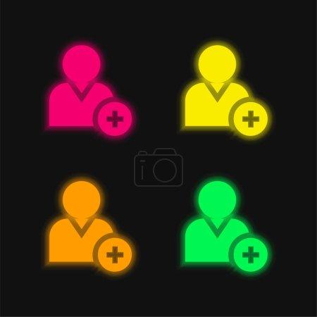 Illustration pour Ajouter utilisateur quatre couleur brillant icône vectorielle néon - image libre de droit