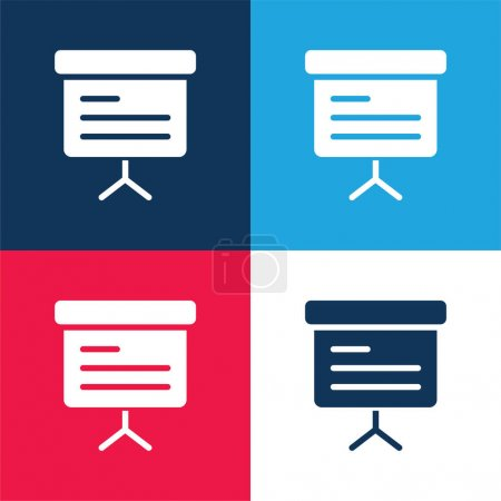 Illustration for Blackboard blue and red four color minimal icon set - Royalty Free Image