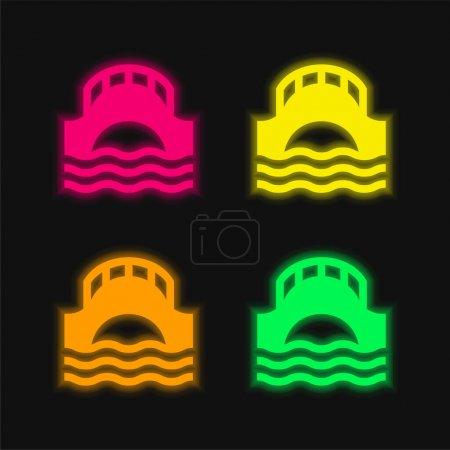 Illustration pour Pont quatre couleurs brillant icône vectorielle néon - image libre de droit