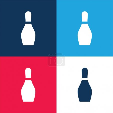 Bowling blue and red four color minimal icon set